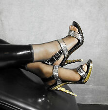 Sexy High Heels Plateau Pailetten Pumps Sandaletten Silber Bronze 36 Bettschuhe