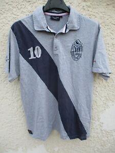 Polo-EDEN-PARK-rugby-legend-n-10-gris-bleu-manches-courtes-XL