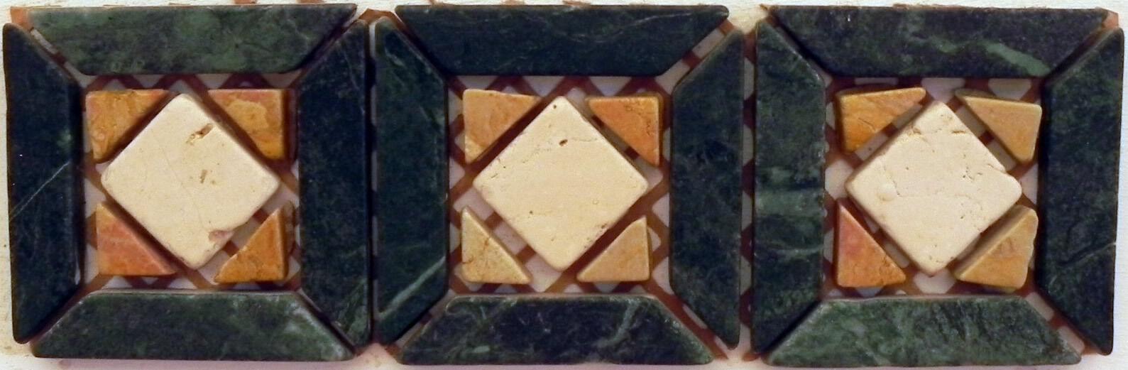 Rosone mosaici in marmo incollati su rete rete rete greca30x10 art116 verdeIN MARMO 86fc2e