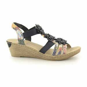 Details about Rieker 62461 90 Ladies Womens Suede Leather Wedge Slingback Sandals Floral Multi