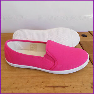 Womens PINK Canvas Pumps slip on Shoes