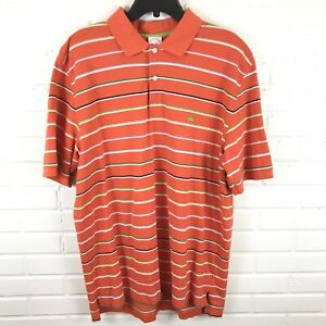 Brooks-Brothers-Men-039-s-Short-Sleeve-Orange-Striped-Polo-Shirt-Size-XL