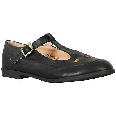 GIRLS BLACK LEATHER CASUAL SCHOOL SHOES,STRAP FASTENING SIZES 10-5 GRACE