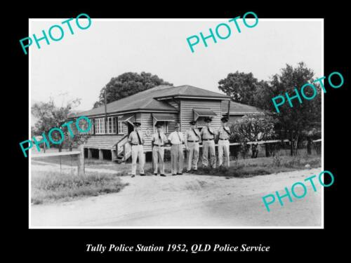 OLD 8x6 HISTORICAL PHOTO OF THE TULLY POLICE STATION & OFFICERS c1952 QLD