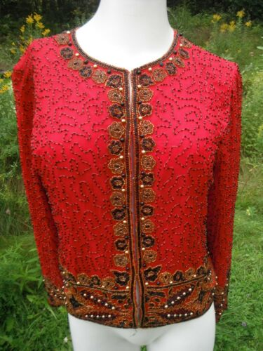 vintage LAURENCE KAZAR gorgeous Red Silk Beaded Si