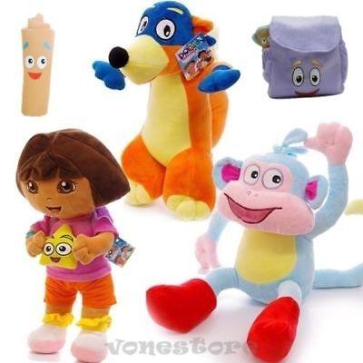 5PCS Dora The Explorer Swiper Fox Boots Monkey Backpack Map Plush Toy Soft Doll