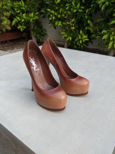 YSL Brown Tribute Platform High Heels Pumps Shoes