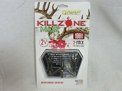 "60-812 3 Pack NAP Killzone Broadhead 100 Grain Maxx 2-3//8/"" COC"