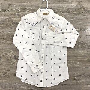 Wrangler-Womens-White-Navy-Blue-Horseshoe-Pearl-Snap-Button-M-Long-Sleeve-Shirt