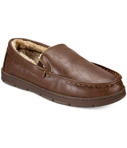 Club Room Mens Faux-Leather Moccasin Slippers XL Brown