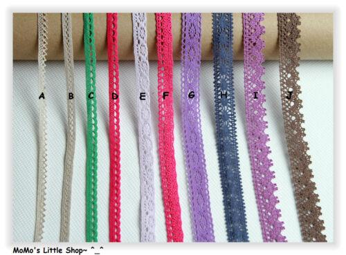 Pretty Vintage Style COLOURED 100/% Cotton Crochet Scalloped Floral Lace Trim——1M