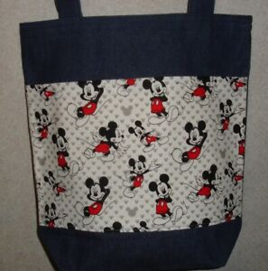 New Large Denim Tote Bag Handmade with Mickey Mouse Classic Fabric