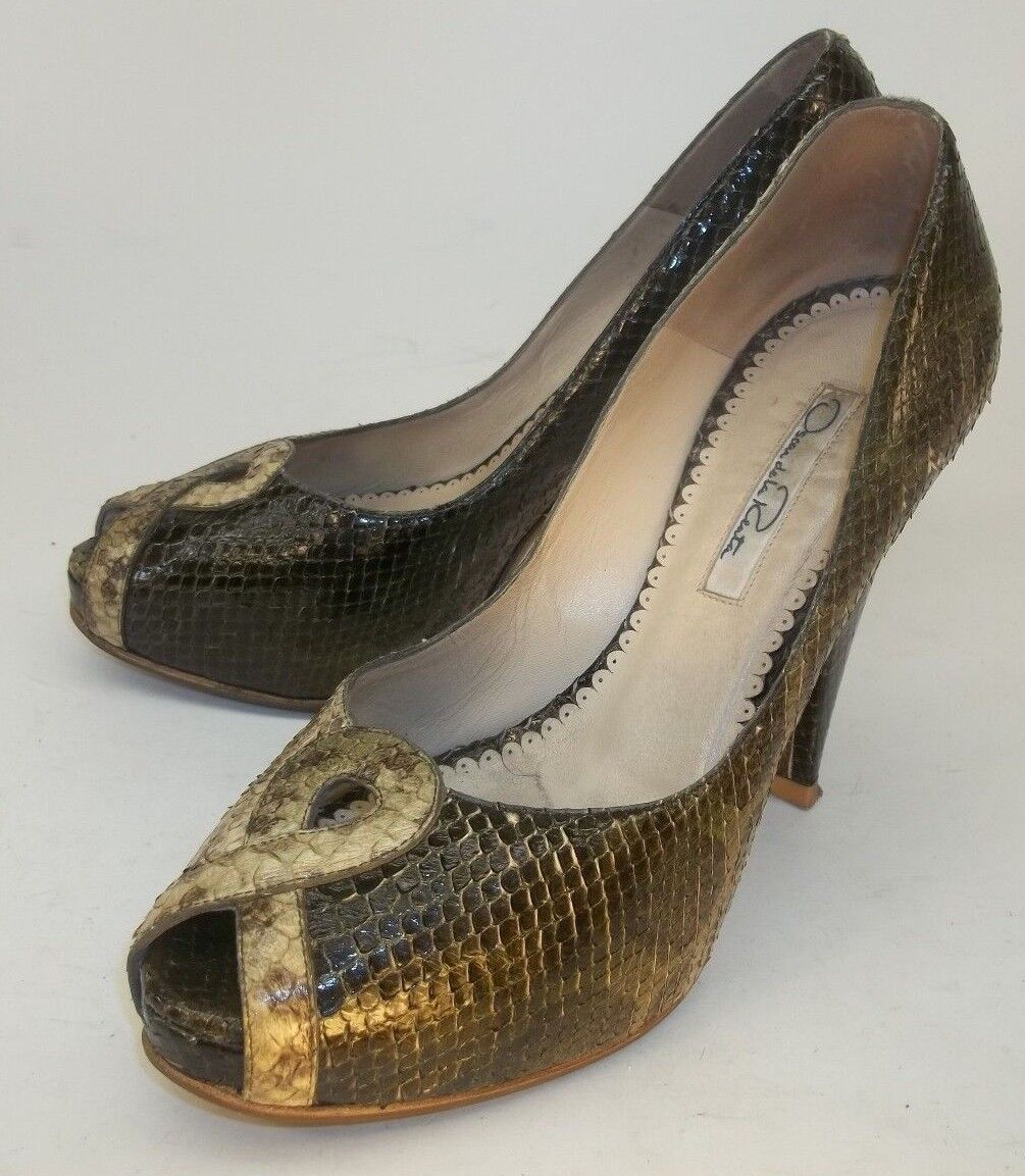 Oscar de la Renta Wos Schuhes Pumps EU36.5 Green Snakeskin Heels Dress  200