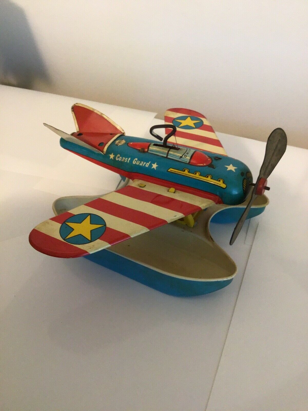Vintage Ohio Art Wind Up Tin giocattolo Coast Guard USCG AirPlane Worre Condition