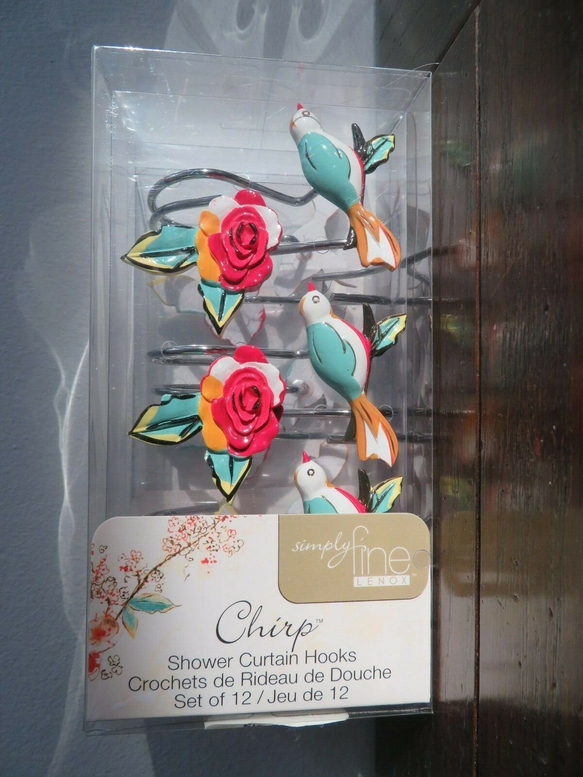 Lenox Chirp Shower Curtain And 12 Shower Curtain Hooks 72 X 72 New 817672