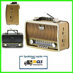 RADIO CASSA ALTOPARLANTE DESIGN VINTAGE CON USB AUX MICRO SD TF FM AM BLUETOOTH