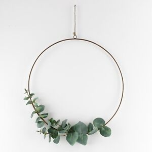 Christmas Ring.Details About Artificial Eucalyptus Brass Ring Wreath Christmas Decor Hoop
