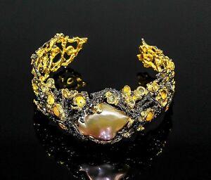 Exklusiv-Handarbeit-925-Silber-Designer-Armreif-Perle-amp-Opal-Verstellbar