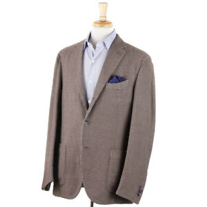 NWT-1295-BOGLIOLI-Woven-Houndstooth-Check-Cotton-Linen-Sport-Coat-44-R