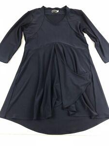 Sympli-Size-8-V-Neck-Top-Tunic-Shirt-3-4-Sleeve-Navy-Blue-Small-S-Medium-M