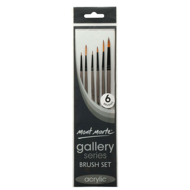 6pc Mont Marte Acrylic Paint Brushes Art Artist Painting Brush Set Taklon