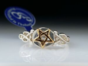 Pentagram-Pentacle-Sterling-Silver-amp-Gold-Ring-by-Peter-Stone-Fine-Jewelry
