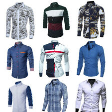 Fashion Men's Luxury Stylish Slim Fit Shirt Long Sleeve Casual Dress Shirt Tops