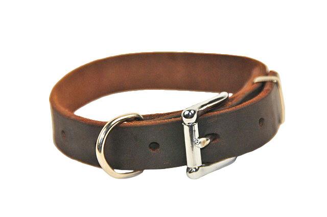 B&B Brown Basic Leather Dog Collar by Dean & Tyler