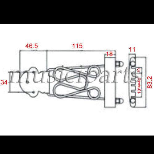 Chrom Gitarre Trapez 6 Saiten Saitenhalter Verkabelt Gestell für Bogen Oberseite