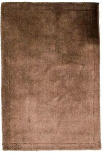 L-Tapis-Gabbeh-145x100cm-Braun-Touffete-a-la-Main-Laine-Couleur-Unie-Motif