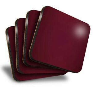Set of 4 Square Coasters - Dark Red Maroon Colour  #21448