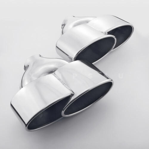 """QUAD Oval Stainless Steel Exhaust Tips for Benz C class C250 AMG 2.4/"""" Inlet Pair"""