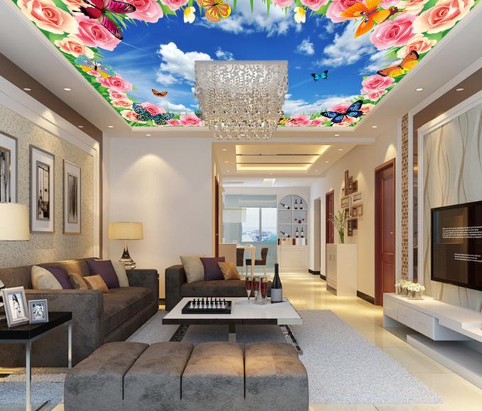 3D Butterfly Sky 853 Ceiling WallPaper Murals Wall Print Decal Deco AJ WALLPAPER