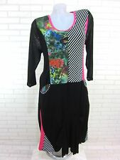 NEU DAMEN Tunika Kleid Bluse Longshirt Lagenlook Schwarz Gr. 48 (7089) SBY