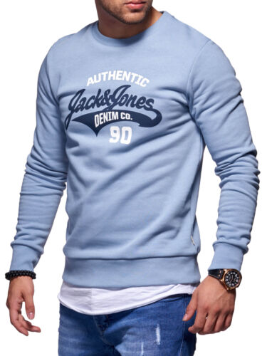 Jack /& Jones Hommes Sweatshirt O-Neck Label Print Sweater Chemise manches longues herrentop