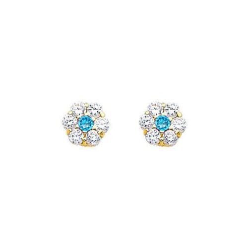 14K White Gold Birthstone Flower Stud Earrings for Baby and Children Screw Back.