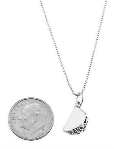 STERLING SILVER TACO HARD SHELL STYLE TACO CHARM WITH BOX CHAIN NECKLACE