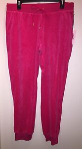 JUICY-COUTURE-Women-039-s-Velour-Cuffed-Jogger-Pants-034-BRIGHT-ROSE-034-L-New-with-Tags