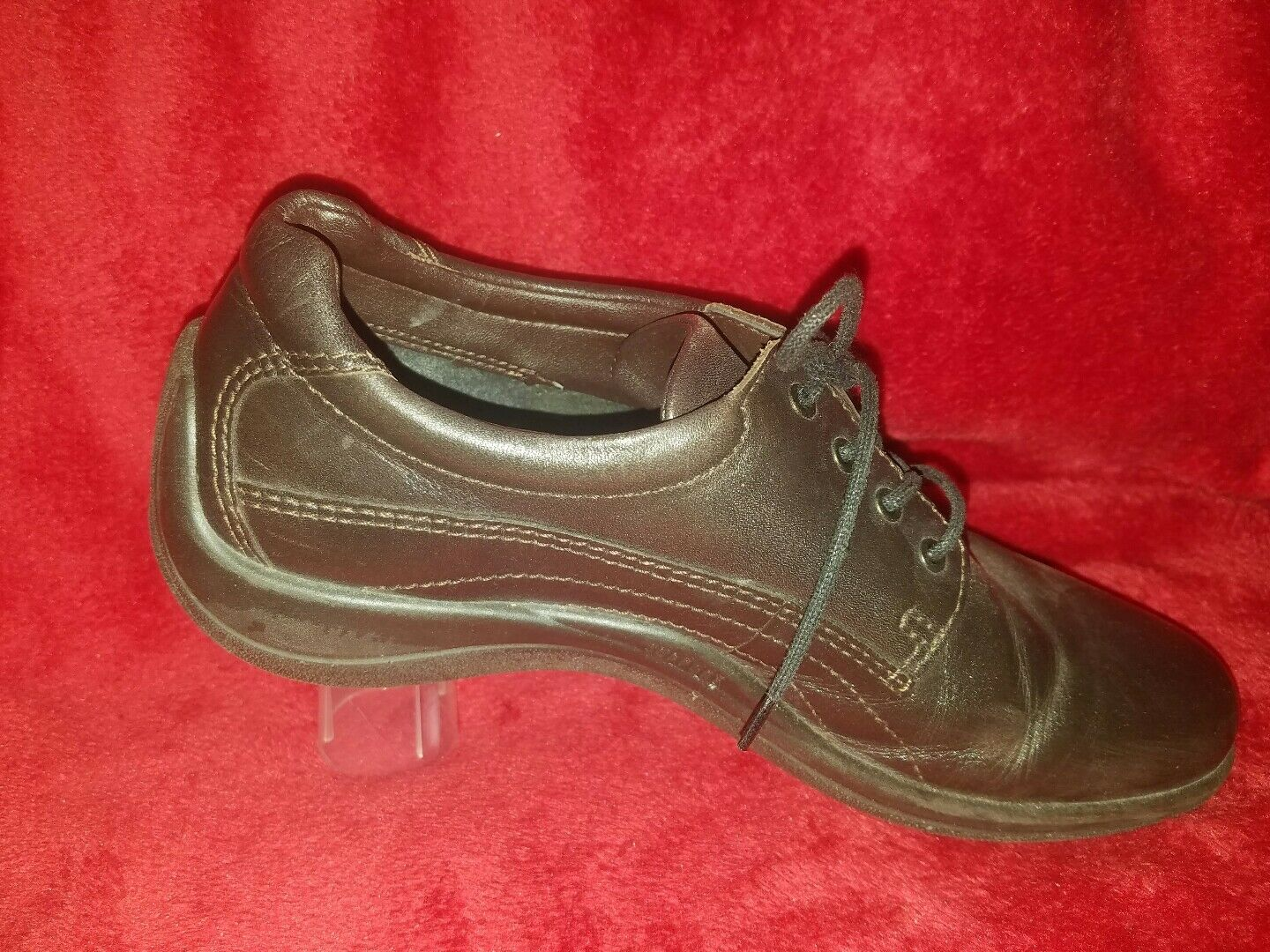 ECCO Dark Brown Leather Lace-Up Oxfords shoes Women's 40 9-9.5, Barely Worn 7
