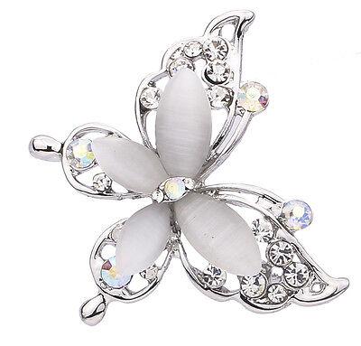Women Fashion Silver Plated Crystal Rhinestone Butterfly Pin Brooch Jewelry
