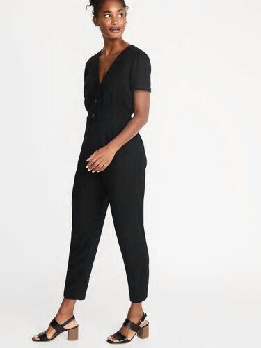 Old Navy Women/'s Black V-Neck Button Front Jumpsuit Size M