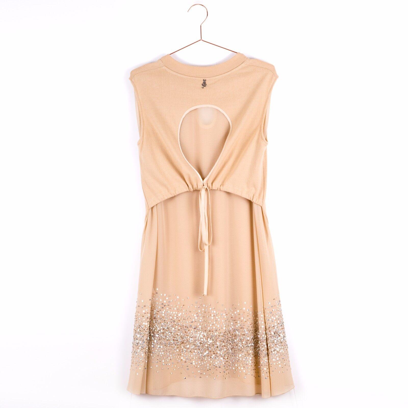 NEW  ITALIAN DESIGNER SISTES Loose Fit Sequin Women Dress Size M 10 12 Beige
