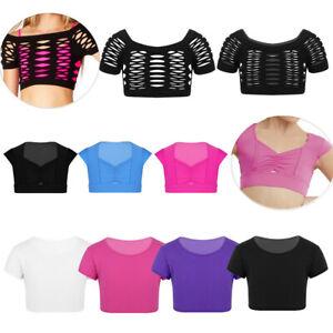 Girls-Short-Sleeve-Crop-Top-T-shirt-Kids-Gymnastics-Dance-Tank-Tops-Vest-Sports