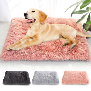 Soft-Grey-Fluffy-Plush-Pet-Puppy-Dog-Mat-Cat-Calming-Bed-Cozy-Warm-Cushion-Pad