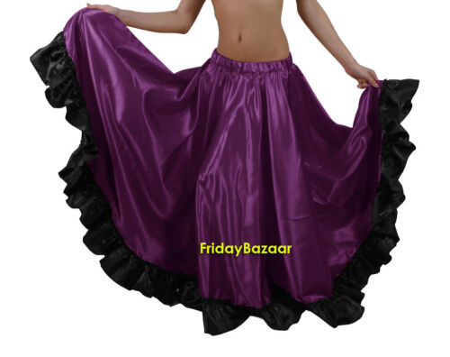 Satin Ruffle Skirt Belly Dance Jupe Oriental 12 Yd Gypsy Flamenco Frill Tiered