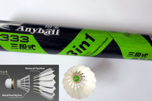 Hybrid 3 in 1 Feather and Plastic Badminton Shuttlecocks