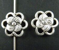 10Pcs Tibetan Silver Nice Flower Spacer Beads 14x4.5mm zn28966