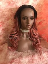 100% Human Hair Blend Pink Ombre Multi Tone Loose Curls Lace Front Wig