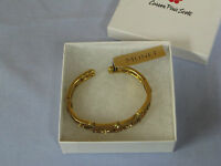 Nwt, New, Monet Gold Colored Metal Cuff Bracelet, Gold Stones, Hinged, Msrp $32