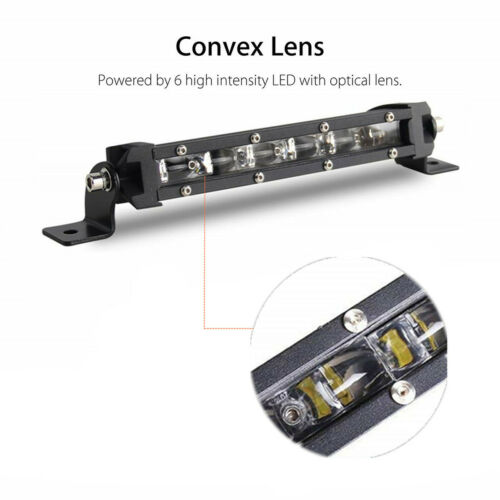 2 Pcs 8inch 60W LED Spot Work Light Bar Car Offroad SUV Single Row Driving Lamps
